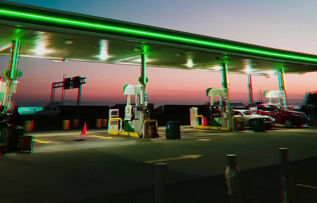 Picture of BP forecourt at dusk