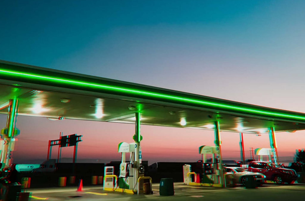 A BP forecourt with a sunset in the background